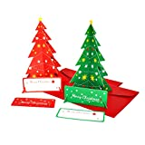 Christmas Cards, 3D Christmas Tree Shaped Greeting Cards Set of 10 - Unique Funny Christmas Gift Greeting Cards with Envelopes