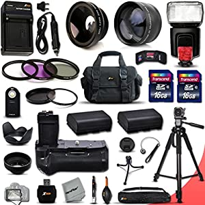 Mega Pro Accessory Kit for Canon EOS 70D DSLR Camera Includes 32GB Memory + 58mm 2X Telephoto Lens + Wide Angle Lens + Battery Grip + Flash + MORE