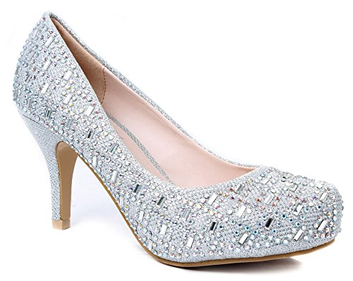 Bella Luna Myra Sparkle Crystal Gem Rhinestone Glitter Mesh Formal Evening Dress Pumps,Silver,9
