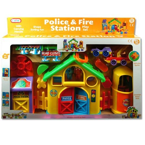 15pc Teach Time Educational Police & Fire Station Play Activity Set for Babies & Toddlers