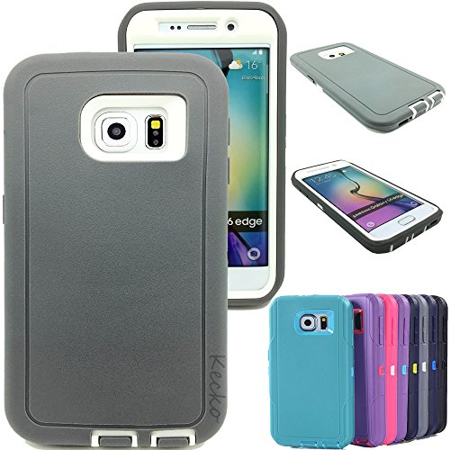 Kecko® Dual Layer Heavy Duty Defender Series Shockproof High Impact Builders Full Body Armor Protective Military Grade Rugged Hybrid Case for Samsung Galaxy S6 Edge (2015) for Women & Men (Gray/Wh) (Pics Of Wh compare prices)