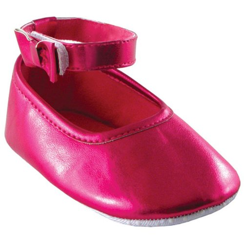Girl Ankle Bow Shoe, Dark Pink, 0-6 Months Baby front-935955