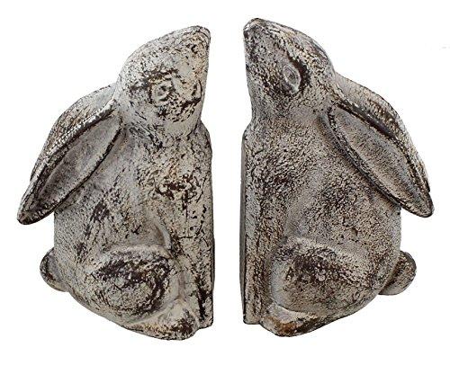 Chalk White Cast Iron Rabbit Bookends Pair