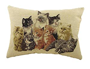 Evans Lichfield Cats Traditional Tapestry (Filled) Cushion, 18 x 13 inch
