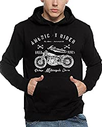 ADRO Mens Premium Cotton Printed Hoodie Sweatshirt (Black)