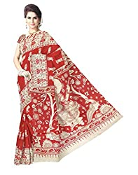 GiftPiper Kalamkari Saree in Cotton Silk -Red&White