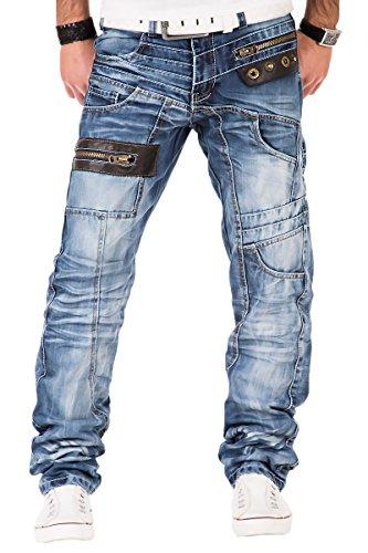 Kosmo Lupo Herren Jeans Denim Hose Japan Style Vintage Clubwear Chino Used Blau (W34/L34)