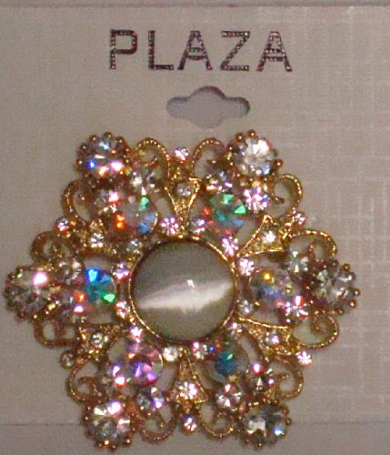 Simulated Jades Ivory Pearl on Crystals on Gold Plated Gita Brooch Pin for Women and Teens