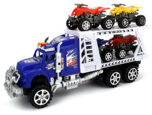 ATV Transporter Trailer Children's Friction Toy Truck Ready To Run w/ 4 Toy ATVs, No Batteries Required (Colors May Vary) (Truck Trailer For Atv compare prices)