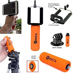 AccessoryBasics SNAP-II Universal Smartphone Holder Mini Hand Grip Stabilizer with 1/4-20 Connection & GOPRO Tripod Adapter for Apple iphone 6 Plus / 6 5s Samsung Galaxy S6 S5 Note 5 4 3 HTC ONE Max Motorola Moto X G Droid Go