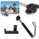 Extendable Handheld Telescopic Monopod for Compact Camera Iphone 3gs 4 4s 5 Samsung Galaxy S5 S4 I9500 S3 I9300 + Adjustable Smartphone Adapter Phone Hold