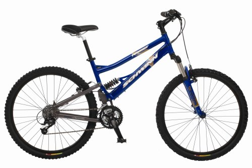 Schwinn Rocket Adult Dual-Suspension Mountain Bike, Cobalt Blue / Grey (24-Inch Frame)
