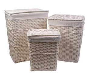 3 cestos con tapa para ropa de mimbre color blanco con cubiertas desmontables de algod n y lino - Cestos de mimbre blanco ...