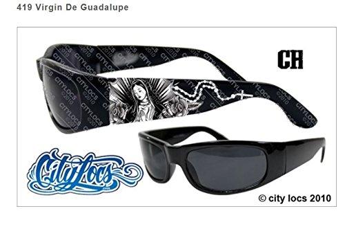 VIRGIN DE GUADALUPE CITY LOCS SUNGLASSES BLACK CHOPPERS CHICANO RAP SHADES NWT (Chicano Locs compare prices)