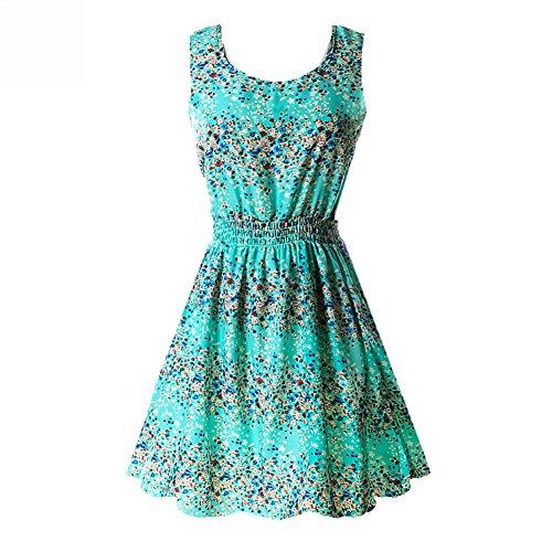 ROPALIA Women's Floral Chiffon Sleeveless Sundress Summer Tank Mini Dress Small