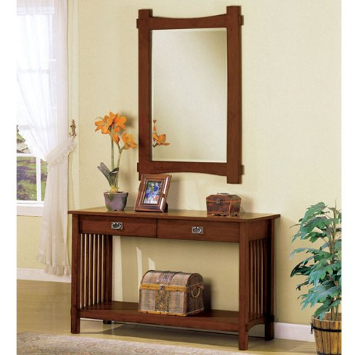 Cheap Charter Oak Finish Hallway Console Table and Mirror (AC205)