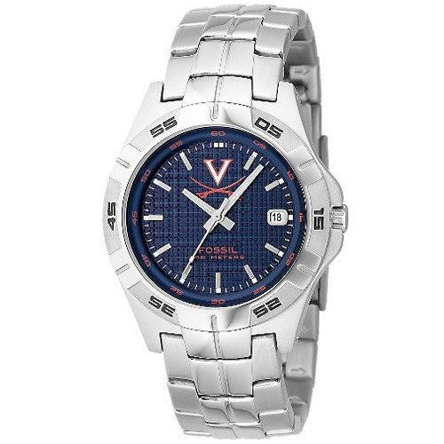Fossil Virginia Cavaliers Men&#8217;s Stainless Steel Analog 3 Hand Date Watch