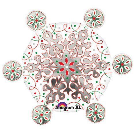 "Red White Green Silver Large Winter Snowflake Dots Swirls 24"" Balloon Mylar - 1"
