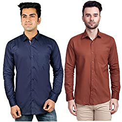 Nimegh Blue, Brown Color Cotton Casual Slim fit Shirt For men's (Pack of 2)