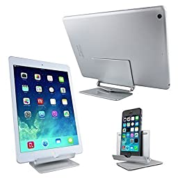 LOYMR Universal Stand / Holder / Mount for Tablets 7-10 inch, Apple iPad 2, iPad 3, iPhone,Samsung Galaxy ,HTC Cell Phones, LG Smartphones and E-readers , Durable Aluminum Body(Silver)