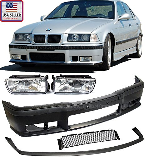 1992-1998 BMW E36 3-Series M3 Style Front Bumper Cover + Lip + Clear Fog Lights 1992 1993 1994 1995 1996 1997 1998 (Front Bumper Cover Bmw compare prices)