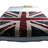 Echolife Thicker Bed Blanket: Super Soft Warm Air Conditioning Throw Blanket for Bedroom Living Rooms Sofa (Vintage UK Flag)