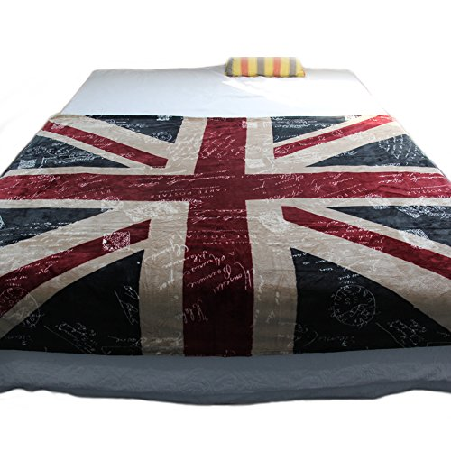 Echolife Thicker Bed Blanket: Super Soft Warm Air Conditioning Throw Blanket for Bedroom Living Rooms Sofa (Vintage UK Flag) (British Flag Bedding compare prices)