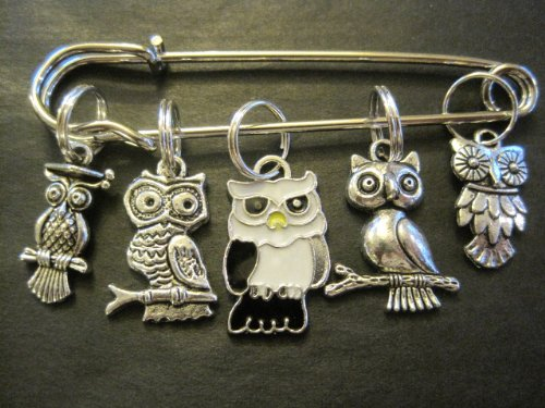 Knitting Enamel : Silver and enamel owls knitting stitch markers