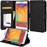 Note 3 Case, Abacus24-7 Galaxy Note 3 Wallet Case, Leather Flip Cover with Card Holder and Kickstand - Black Flip Case for Samsung Note 3 Phone
