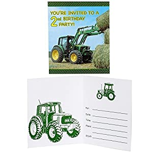 John Deere 2nd Birthday Invitations (8 count) Party Accessory from Party Destination