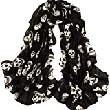 ECOSCO New Arrival Lady Girl White Skulls Printed Black Long Soft Scarf Shawl Christmas Gifts WITH ONE PC PURSE HOOK