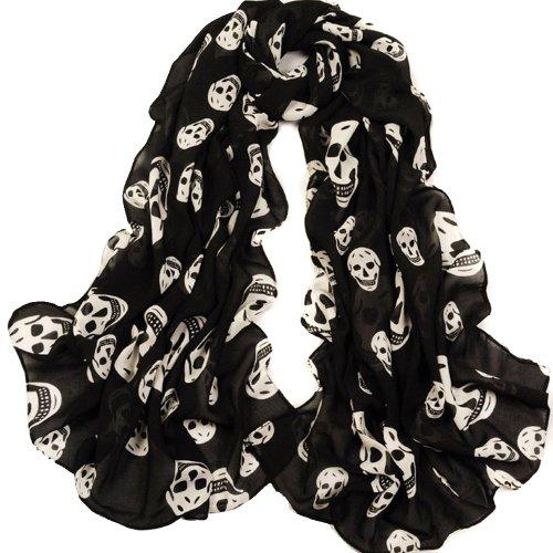 ECOSCO Scarf Girls Skulls Printed Black Long Soft Scarf Shawl, White