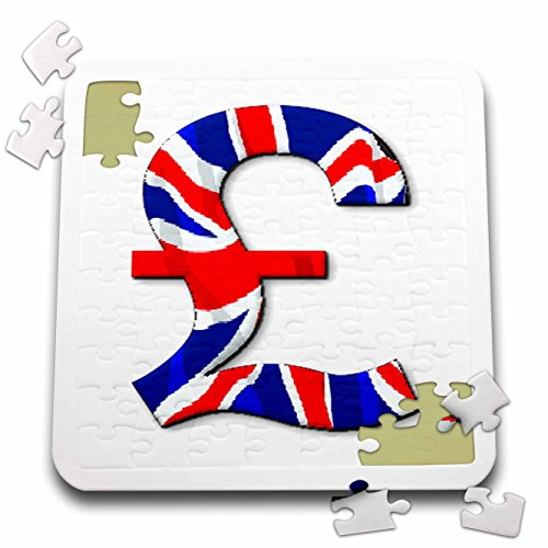 Florene Decorative III - Image of English Pound Sign In British Flag Colors - 10x10 Inch Puzzle (pzl_240705_2) (British Flag Puzzle compare prices)