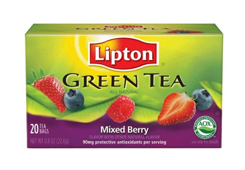 Lipton Green Tea, Mixed Berry, Tea Bags, 20-Count Boxes (Pack of 6)