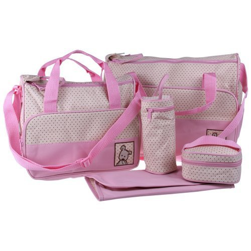 Ecosusi 5 in 1 Bear Diaper Tote Bag (pink) by Ecosusi (English Manual)