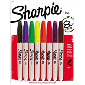 Sharpie Permanent Marker Fine Tip 8 Pack