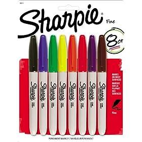 Sharpie Permanent Marker Fine Tip 8 Pack