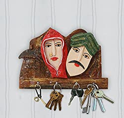 999Store wooden crafted hand painted Rajasthani art key holder hanging