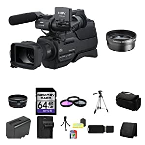 Sony HVR-HD1000P Digital High Definition HDV PAL Camcorder + 2x Telephoto Lens + Wide Angle Lens + 64GB SDHC Class 10 Memory Card + 37mm 3 Piece Filter Kit + Full Size Tripod + Deluxe Extra Large Video Bag + NP-FP970L Replacement Lithium-Ion Battery + External Rapid Charger + Table Top Tripod, Lens Cleaning Kit, LCD Protector + USB SDHC Reader + Memory Wallet
