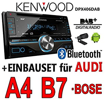 Audi a4 b7 dPX406DAB 2DIN bluetooth-kenwood autoradio dAB uSB avec kit de montage