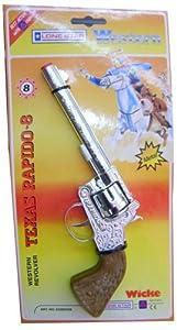 Lone Star - 25cm Metal Western Revolver - Texas Rapido-8  shot cap gun PLUS 8 reels (1 card - 64 shots) of 8 shot caps