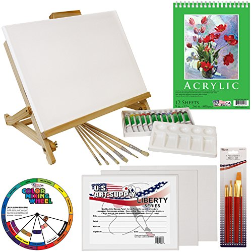us-art-supply-33-piece-custom-artist-acrylic-painting-set-with-table-easel-paint-canvas-and-accessor