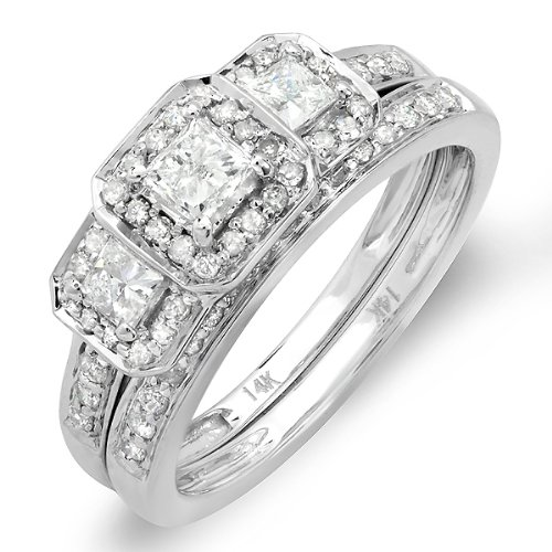 1.00 Carat (ctw) 14k White Gold Round & Princess Cut 3 Stone Diamond Ladies Engagement Ring Matching Wedding Band Set