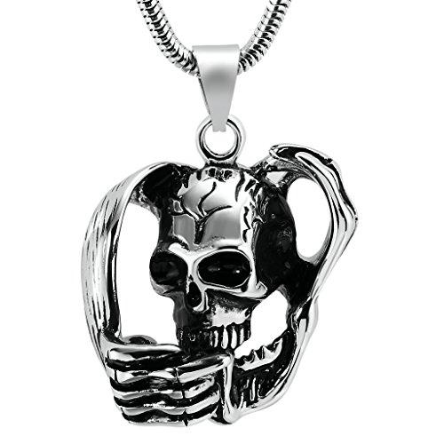 Bishilin Acciaio Inossidabile Argento Nero Retrò Punk Gothic Skeleton Teschio Pendenti Collanine Amicizia per Uomo Dimensioni 4x4CM