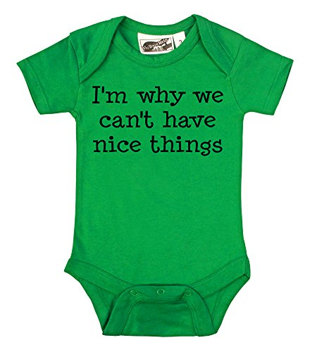 I'M Why We Can'T Have Nice Things Green One Piece (6-12 Months) front-1081382