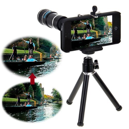 Black Apple Iphone 5 5G Portable 12 X Zoom Telescope Camera Lens With Mini Tripod And Case Kit