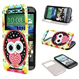 TUTUWEN View Window Painting Art Style Design PU Leather Flip Stand Case Cover for HTC One M8 HTC One M8 CDMA