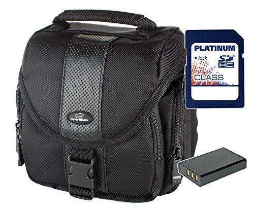Sparset Fototasche Esperanza ET145 Tasche schwarz + Ersatzakku DMW-BLC12E + 8GB SD Karte für Panasonic Lumix DMC-FZ200, DMC-G5 mit14-42mm Objektiv