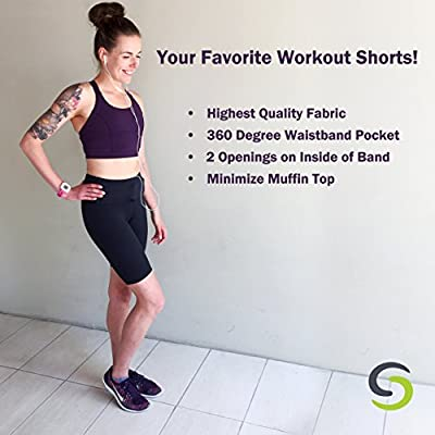 Sport-it Active Long Shorts | Workout Bike Shorts with Pockets | Women's Running Shorts | Active Shorts