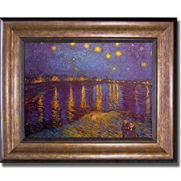 Starlight Over the Rhone by Van Gogh Premium Bronze Framed Canvas (Ready-to-Hang)